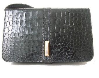 1970 CROCODILE CLUTCH   black luxuous