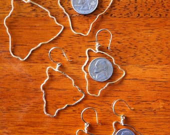 Hawaii Big Island Earrings Sterling Silver Hawaii Jewelry small