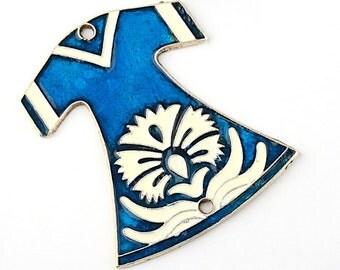 Handpainted Ottoman Caftan Connector, Enamel, Royal Blue/White, 1 piece - Jewelry Supplies // SPC-129