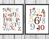 Sports Themed Alphabet  and Number Print Set  -  Custom Colors - Sports  Nursery Decor