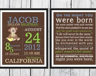 Birth Announcement Set  -  Monkey Nursery - Birth Info Print