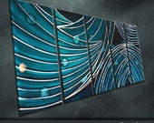 """Original Abstract Metal Art Large Modern Painting Sculpture Indoor Outdoor Decor """"Water"""" by Ning"""