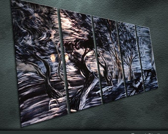 "Original Metal Wall Art Modern Painting Scupture Indoor Outdoor Decor ""The wind blowing over the woods"" by Ning"