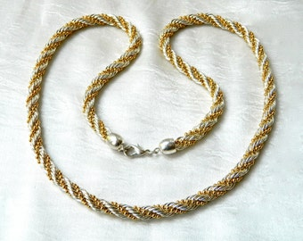 Vintage Necklace Braided Chunky Chain German Silver and Gold Plate Woven Braided Rope Heavy