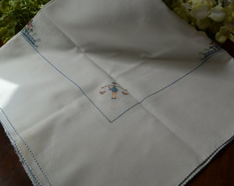 Vintage Linen Luncheon Tablecloth, Multi Colored Cross Stitched, Blue Stitched Border  3395