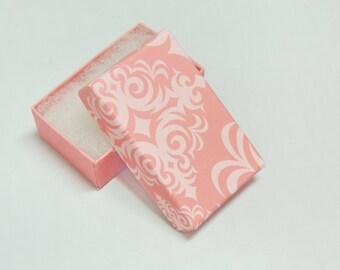 10 Matte Light  Pink Damask Print Cotton Filled Jewelry Presentation Gift Boxes size 3.25 x 2.25 ,   Light Pink  Boxes