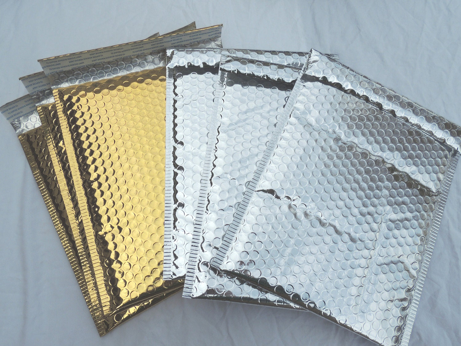 8 Silver And Gold Metallic Large 10x15 Inch Bubble Mailers