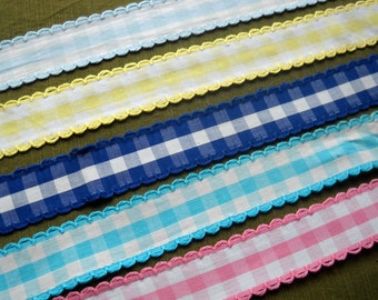 Vintage Gingham Trim, Five Colors to Choose From, By the Yard, Various Lengths