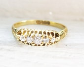 Antique Victorian Diamond 18K Yellow Gold Engagement Ring - ca 0.18ct