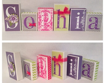 Pink, Grey, Lime Green & Purple Sophia Blocks