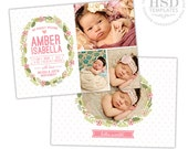 SALE Birth Announcement Template for Girls - Newborn Announcement Template - Photography Photoshop Templates - BA169