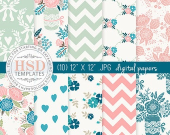 Pink Turquoise Shabby Chic Digital Paper - Floral Digital Scrapbook Paper - Digital Backgrounds - Chevron Digital Paper - Mason Jar DP132