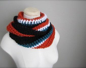Crochet Black, Teal, Orange, and White NHL, Hockey, Football, Soccer, Sports Team Colors Infinity Scarf, Men's Scarf, Unisex Scarf