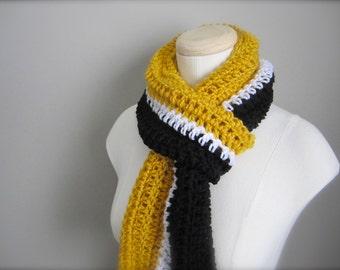 Crochet Black, Gold, and White NHL, Hockey, Football, Boston Bruins, Pittsburgh Penguins Infinity Scarf, Men's Scarf, Unisex Scarf