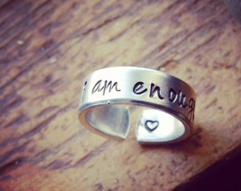 I am enough , heart, semicolon, love,   aluminum cuff style ring 1/4 inch