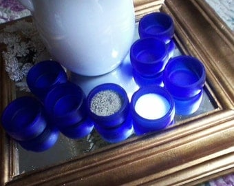 Cobalt Blue Salt Cellar Set of Eight