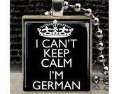 Scrabble, Tile, Necklace, Pendant, Handmade, Jewelry, Altered Art, Keep Calm, German