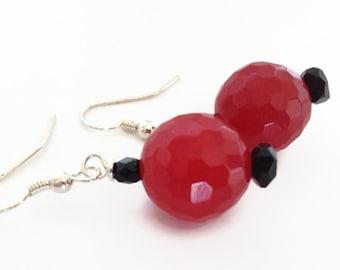 Red Earrings, Red Jade Earrings, Red Stone Earrings, Red and Black Earrings, Red Dangle Earrings, Red Jade Dangle Earrings, Jade Earrings