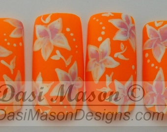 Pink and White Floral on Mango Instant Acrylic Nail Set