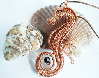 wire wrapped beaded seahorse pendant copper