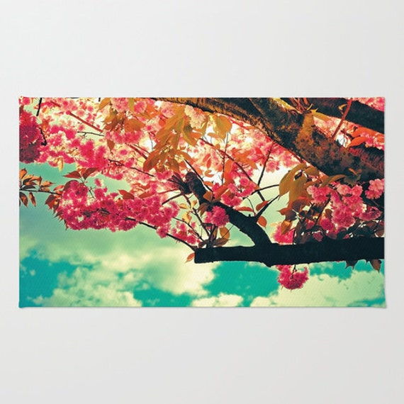 Items similar to spring decor bright floral area rug for Bright floral area rugs