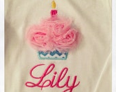 1st birthday cupcake with candle rosette flower onesie