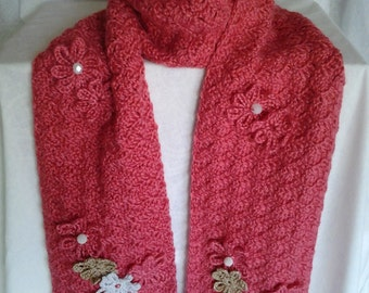 Deep Coral Crochet Scarf adorned with flowers and beads
