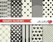 Black WHITE Paper Background VALENTINES Scrapbook Digital Paper Pack Valentines Paper cardstock patterns Valentines Graphics 12/15