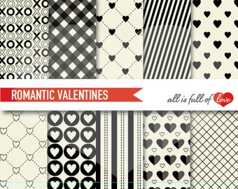Black WHITE Paper Background VALENTINE Scrapbook Digital Paper Pack Valentines Paper card stock patterns hearts collage sheet
