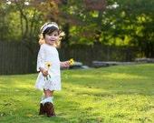 White Rustic Flower girl dress
