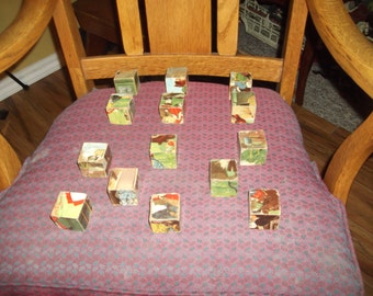 Authentic 1940s Wood Toy Building Blocks