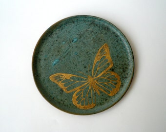 Butterfly Dessert Plate, Lunch Plate, Decorative Plate, Hand Painted in Gold on Variegated Matte Turquoise by Cecilia Lind, Studio Lind