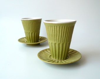 Ceramic Cup and Saucer, Kiddush Cup, Judaica, Tea, Coffee Cup, in Green and White with Sparks of Gold by Cecilia Lind, StudioLind