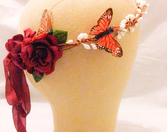 Monarch glen butterfly and burgundy red rose flower crown hairpiece headpiece floral wreath crown