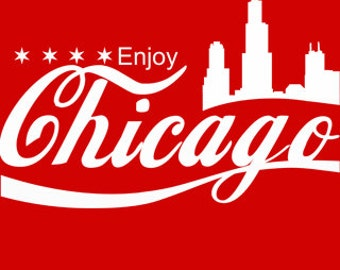 Enjoy Chicago T-Shirt Funny Chi-Town The Windy City Illinois Pride Retro Pop Culture Tee Shirt Tshirt Mens Womens S-3XL Great Gift Idea