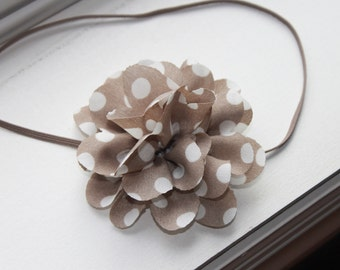Taupe and Ivory Polka Dot Chiffon Baby Flower Headband, Newborn Headband, Baby Girl Flower Headband, Photography Prop