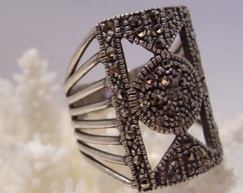Large Sterling and Marcasite Ring Size 8
