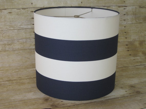 items similar to large drum lamp shade lampshade pendant navy white. Black Bedroom Furniture Sets. Home Design Ideas