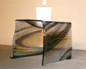 Silver Black Streaky  Iridescent  Fused Glass Candle Holder, Potpourri Burner
