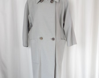 Rare 70s collectible Complice (Versace/Genny) elegant minimalist modern kimono cut dove grey long wool coat: US 6-8-10