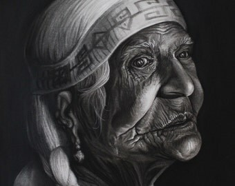 """16""""x20"""" charcoal Old Woman"""
