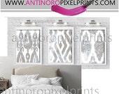 Watercolor Ikat Khaki Shades of Grey White Digital Print Wall Art Prints  - Set of (3) - 24x36 Prints - Khaki / Grey (UNFRAMED)