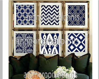 Navy White Modern inspired Art Prints Collection  -Set of 6 - 12x12 Prints - Featured in Navy White  (UNFRAMED) #253538054
