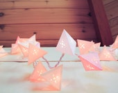 Cream Paper Pyramid Light Garland - GEOMETRIC - faceted paper lanterns with geometric die cuts
