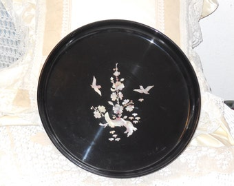 Mother of Pearl in Lay Abalone Platter Pretty Birds Nice Black Back ground,Round Serving Tray,Asian Serving Tray,Tray with Birds on it :)s