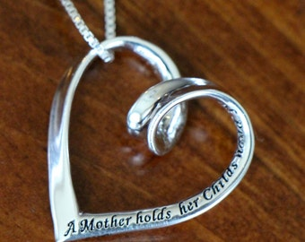 Heart Mother's Love Necklace - Heart Pendant Necklace- Sterling Silver- Mother's Jewelry- Mother's Christmas Gift