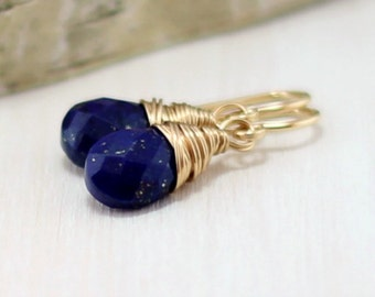 Gold Lapis Earrings, 14k Gold Filled Cobalt Blue Lapis Lazuli Earrings Yellow Gold Wire Wrapped