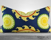 Pillow Cover - Duralee Ponderosa Navy Blue Fabric  - Suzani Navy Pillow - SAME FABRIC both sides - Pick Your Pillow Size