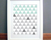 Triangle Grid Mint Grey Large, Printable Wall Art, Geometric, Modern, Downloadable