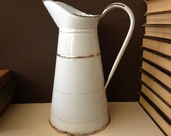 1930s French Enamel Pitcher White and Gold Pinstripe, Large Jug